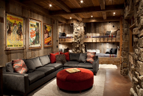Western interiors can also take color direction from native american rugs with rock gray metal black cream coral and turquoise as well as strong reds