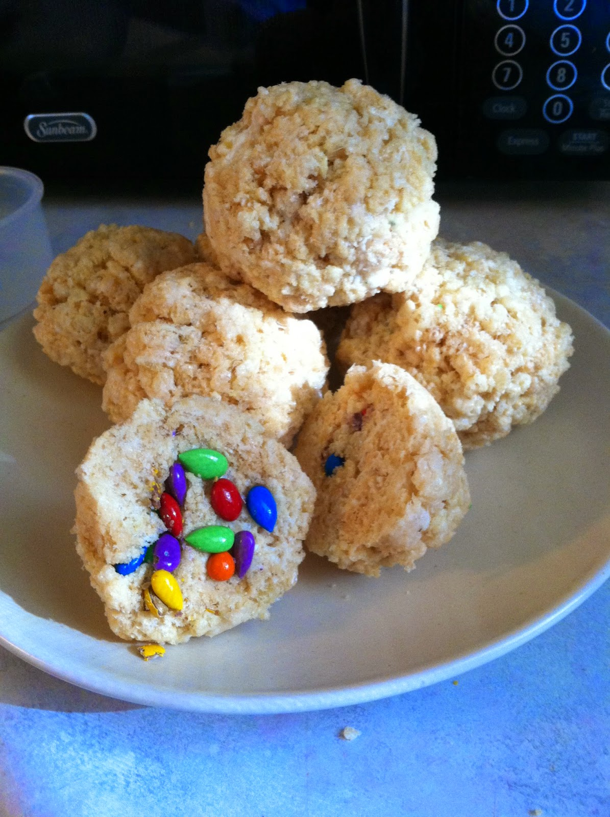 surprise inside Healthy Lemon Rainbow Rice Crispies
