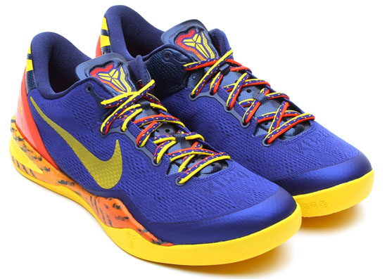 outlet store af37d ba306 This new colorway of the Nike Kobe 8 System comes in a deep royal blue,  tour yellow, midnight navy and total orange. They feature a royal blue  based upper ...