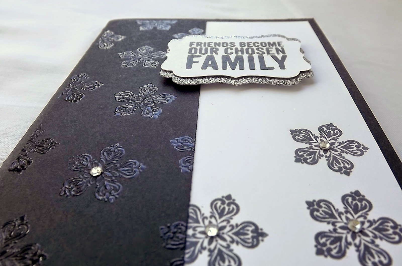 Stampin Up! heat embossed card, black and white, Petite Petals,