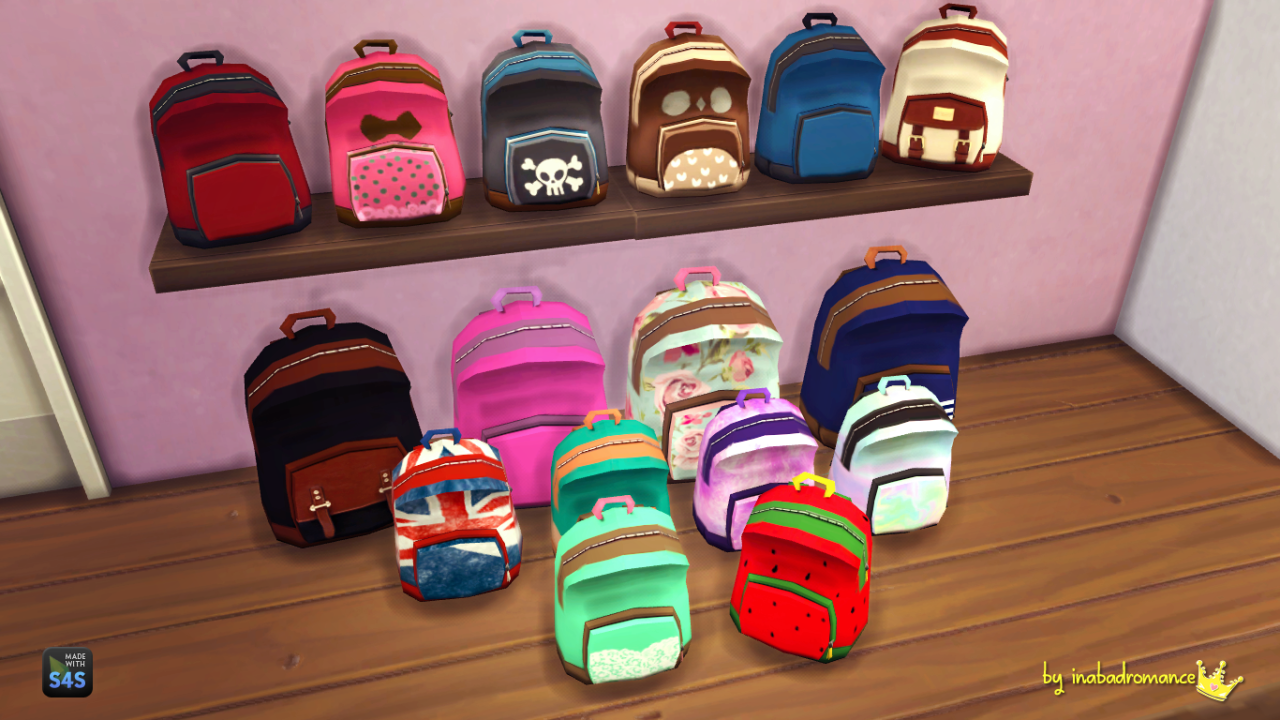 My Sims 4 Blog: Matching Backpacks & Shelves by Inabadromance