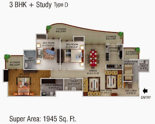 Cape Town :: Floor Plans,3 BHK + Study Type D Super Area - 1945 Sq. Ft.