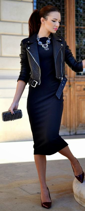 leather moto jacket, statement necklace & sleek ponytail