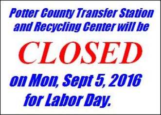 9-5 Potter County Transfer Station Closed