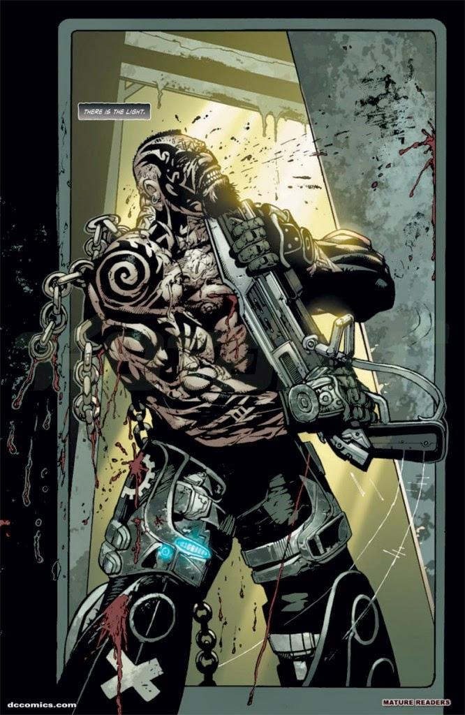 Dessin de Simon Bisley représentant une guerrier gears of war se plaçant un fusil à pompe sous la gorge