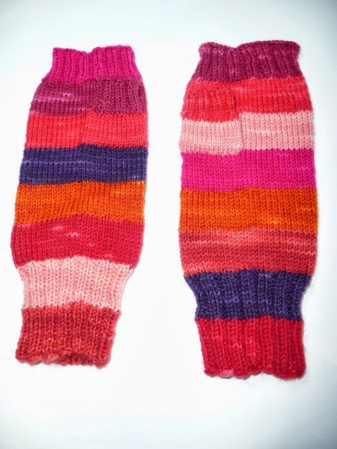Striped Fingerless Mitts