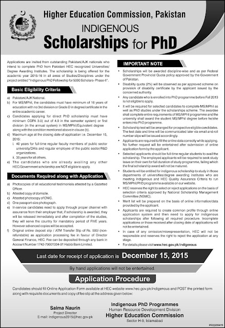 Scholarship for PHD announced by HEC