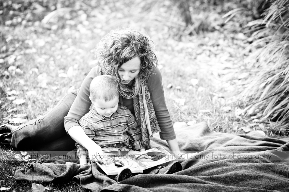 black and white photo of mom and son reading - Terre Haute Lifestyle Photographer