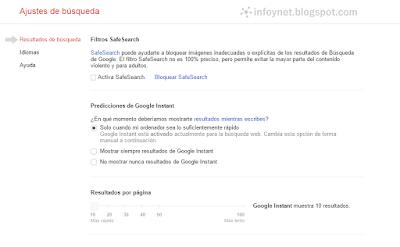 Ajustes de búsqueda de Google: SafeSearch, Instant y resultados por página