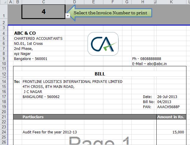 Excel Invoice Template Invoice Template In Excel