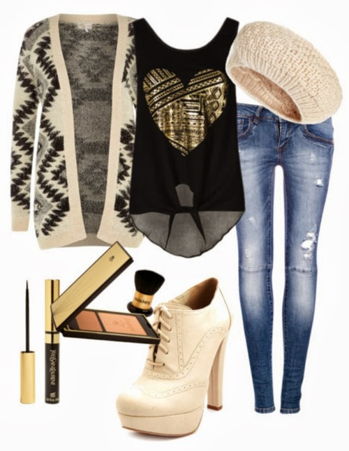 Stylish cardigan, black blouse, warm cap, jeans, and high heel shoes for fall