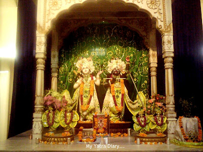 Beautiful idols of the Brothers - Lord Krishna on the right and Lord Balarama to His left at ISKCON Temple, Jaipur
