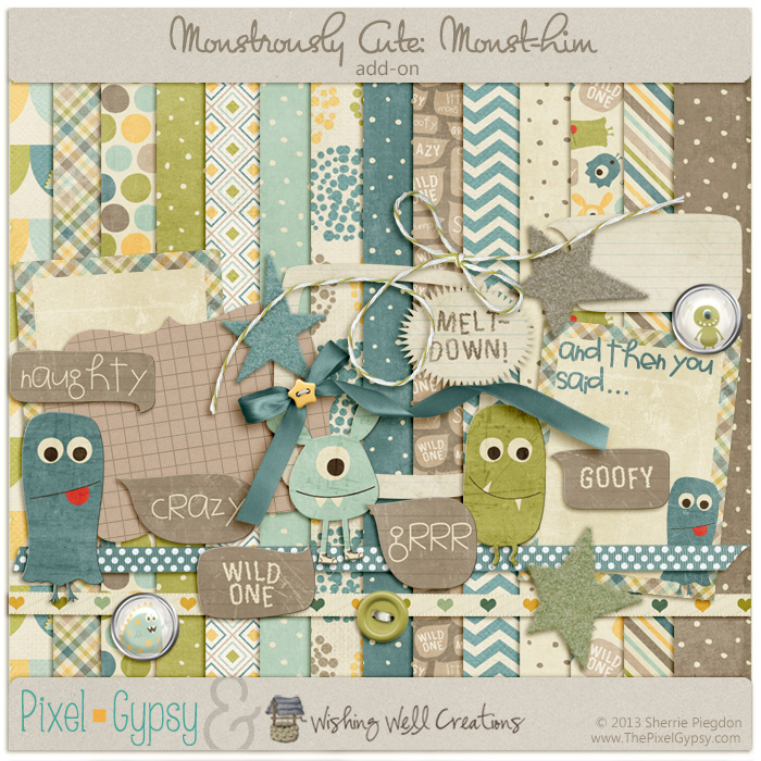 Monstrously Cute: Monst-him Add-on Digital Scrapbooking Page Kit