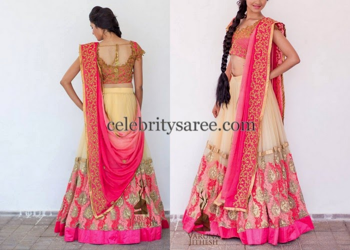 Cream Rich Lehenga by Varuna Jithesh