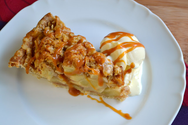 Apple Pie with Crumble Topping and Bourbon Salted Caramel Sauce Recipe