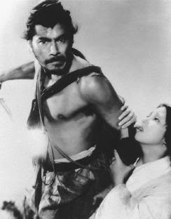 Toshirō Mifune and Machiko Kyō in Rashomon