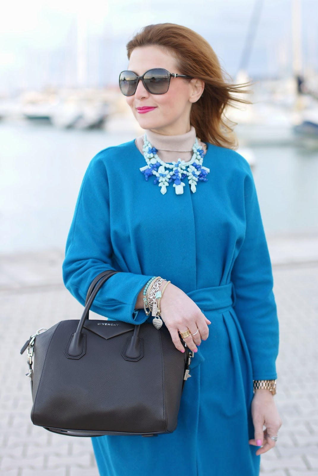Givenchy Antigona bag, MAC lickable lipstick, Zara blue statement necklace, Sapphire blue coat, Fashion and Cookies, fashion blogger