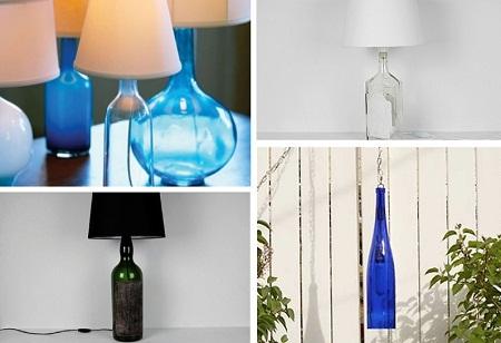 Lmparas con Botellas de Vidrio Reutilizadas Accesorios Sostenibles