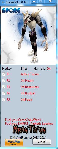Spore V1.2.0 Trainer +4 MrAntiFun