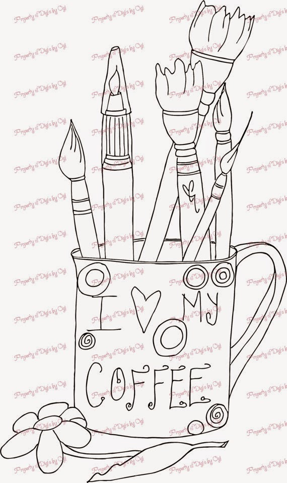 Coffee Cup Digital Stamp Availabler
