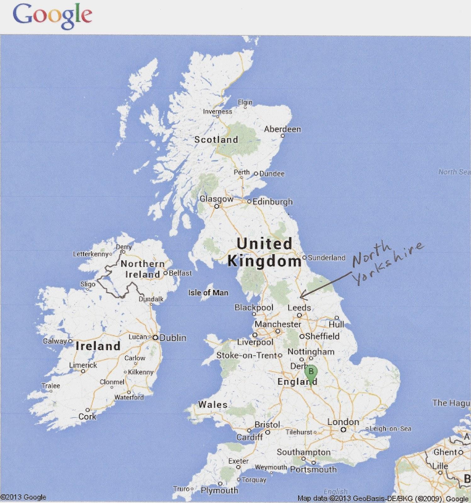 Worksheet. Google Map England Yorkshire