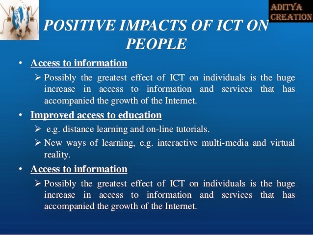 impact of ict on society and Traditionally, courses that deal with computers and society issues focus primarily on enumerating the various ways in which computers impact society.