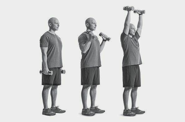 STANDING DUMBBELL CURL PRESS