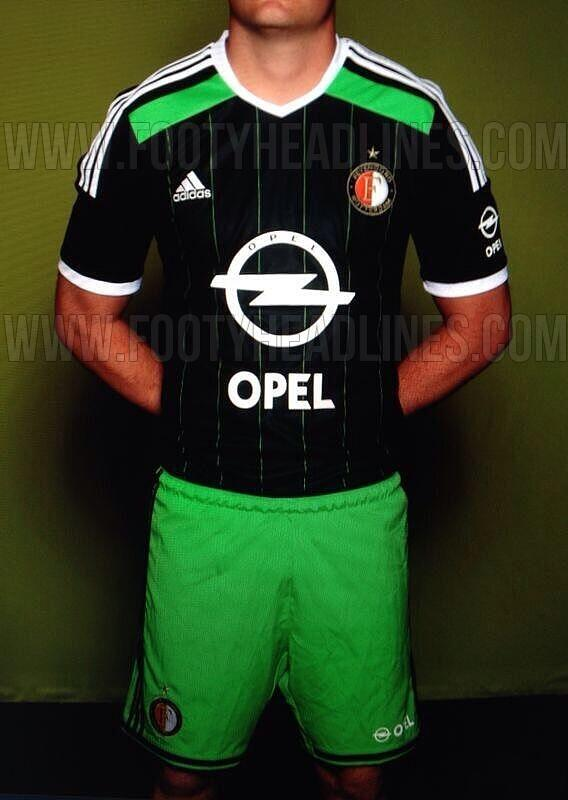 The shorts of the new Feyenoord 14-15 Away Jersey are green.