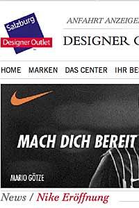 Nike Factory Store eröffnet in Salzburg Designer Outlet am 29.08.2013