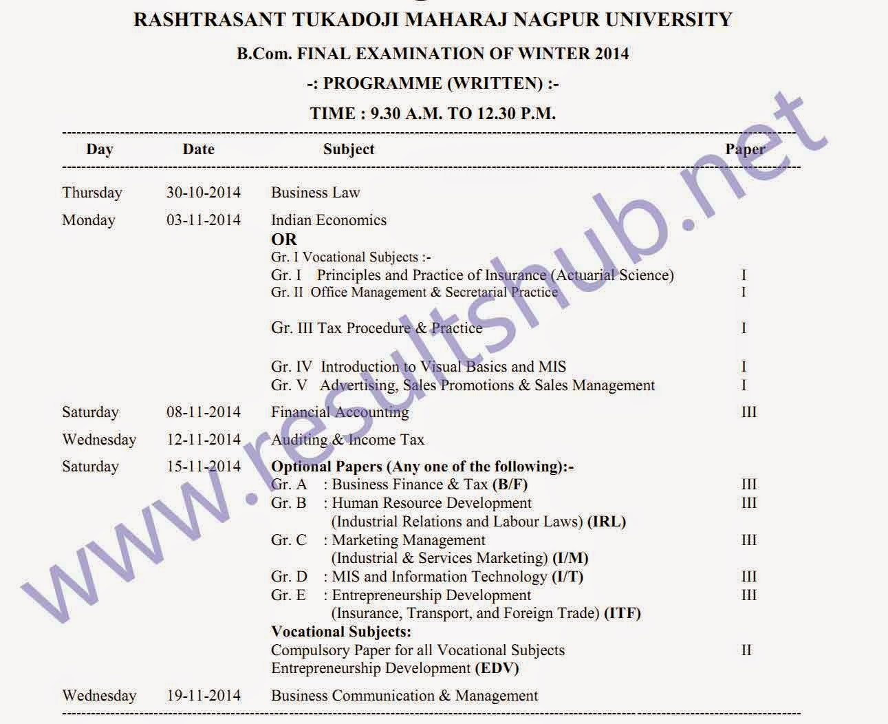 RTMNU BCom Final Year Winter 2014 Timetable