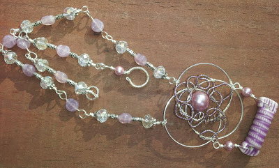 Seasons ~ Road to Happiness: purple, pearls, crystals, glass beads, ceramic, wire wrapping, ooak necklace :: All Pretty Things