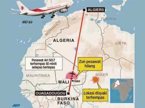 Lokasi air algerie dipercayai terhempas di mali selepas 50 minit penerbangan