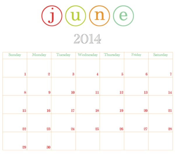 Printable June Calendar @ Blissful Roots