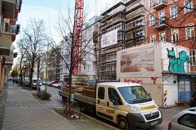 Baustelle Dolziger Straße / Samariterstraße, 10247 Berlin, 07.01.2014