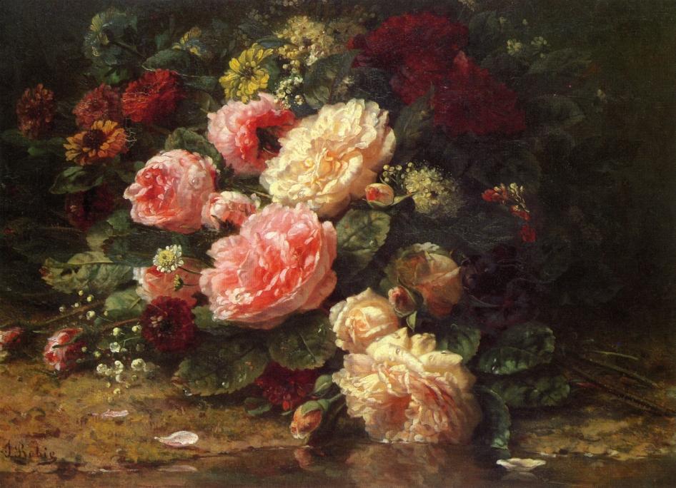 Jean Baptiste Robie  Jean+Baptiste+Robie+-+Floral+Still+Life
