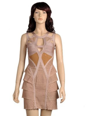 More Perforated Leather Bandage Dress