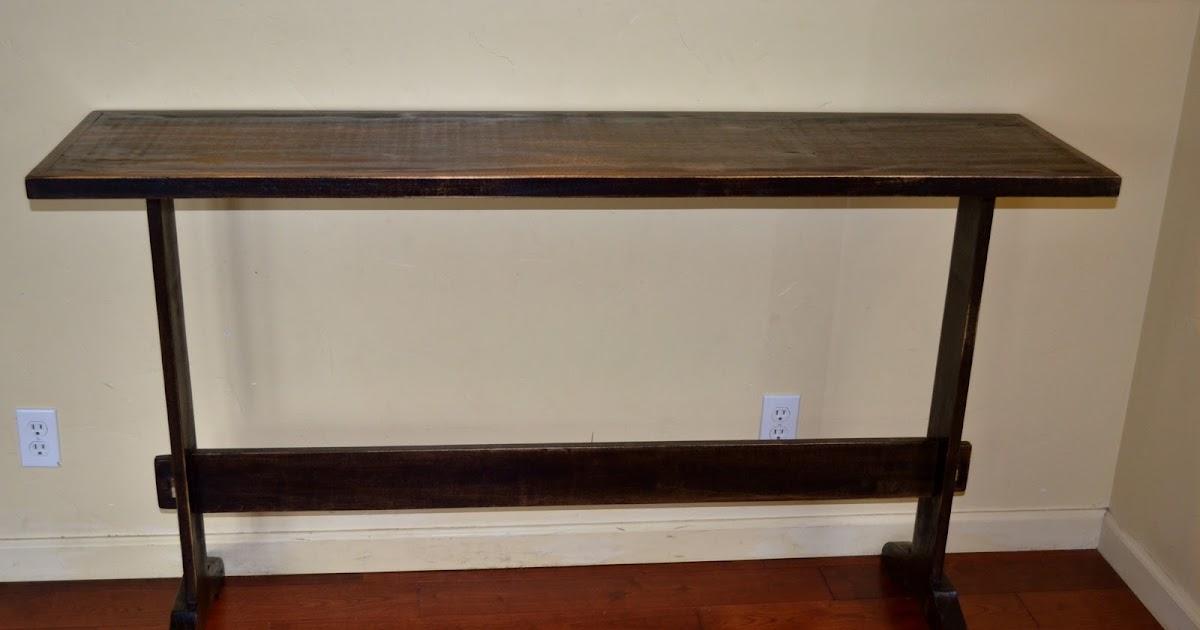 Woodkeeper: Trestle Console Table - Poplar (Espresso Stain)