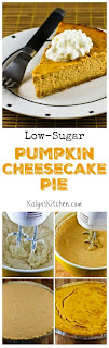 Low-Sugar Pumpkin Cheesecake Pie [found on KalynsKitchen.com]