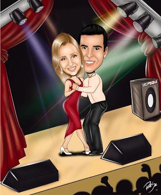 os dois dançando em palco caricatura