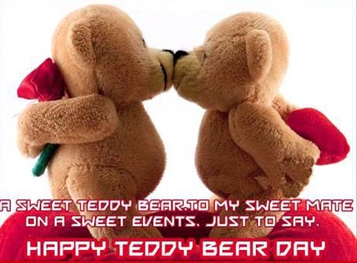 Teddy day 2016 kissing photo, Teddy bears kissing image