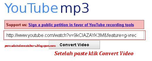 Langkah Paste Link Yang Anda Copy Di Youtube Mp Org Seperti Gambar