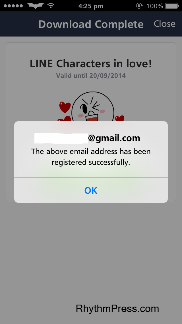 LINE - email registered successfully