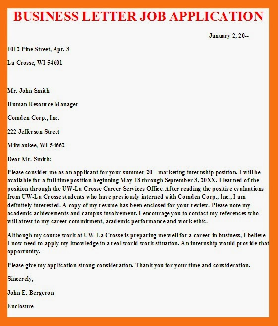 example for business letter job application