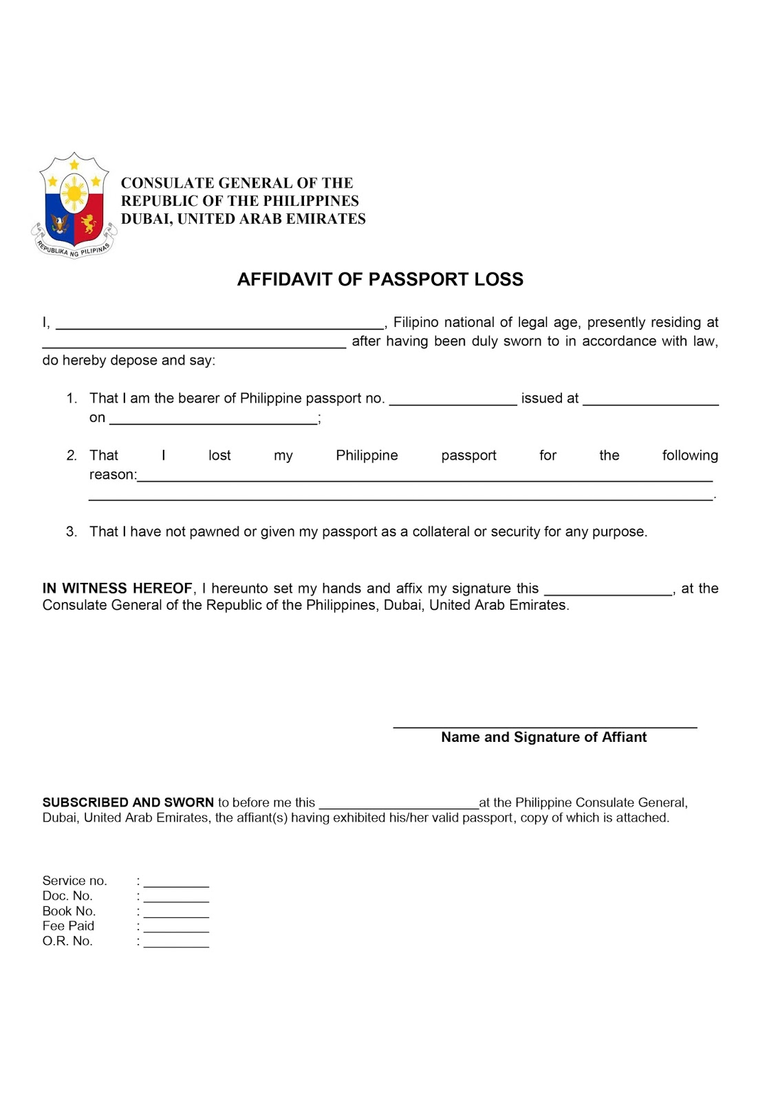 Affidavit Of Loss Template Affidavit%252Bof%252BPassport%252BLoss Affidavit  Of Loss Templatehtml