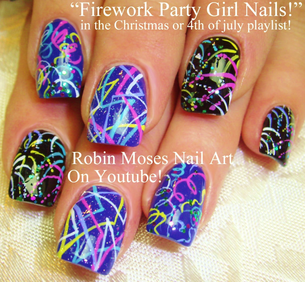 Robin moses nail art romantic firework nail art design tutorial 4th of july nail art playlist diy easy independence day nail art tutorials fourth of july nails prinsesfo Images