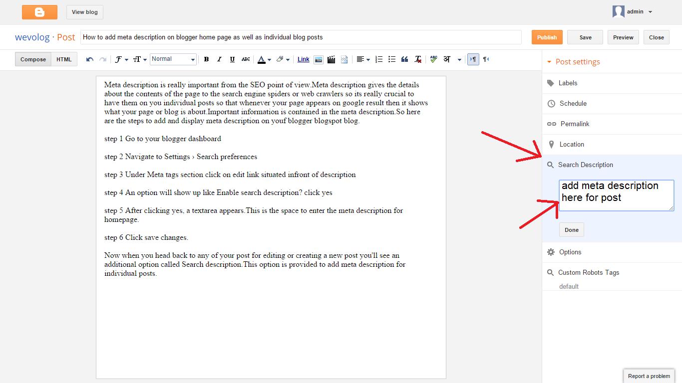 meta description setting for a post in blogger blogspot blog