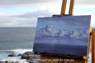 Plein air clouds painting in oils by Andy Dophin