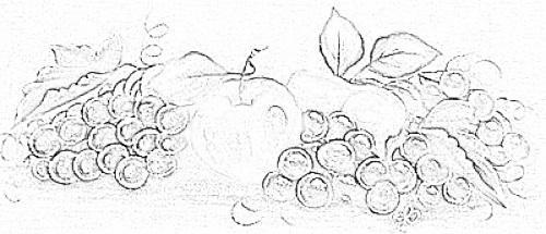risco pintura em tecido uvas pano de prato