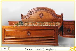 Tempat tidur ukiran kayu jati Paulina Nakas ( Lengkap ) 2