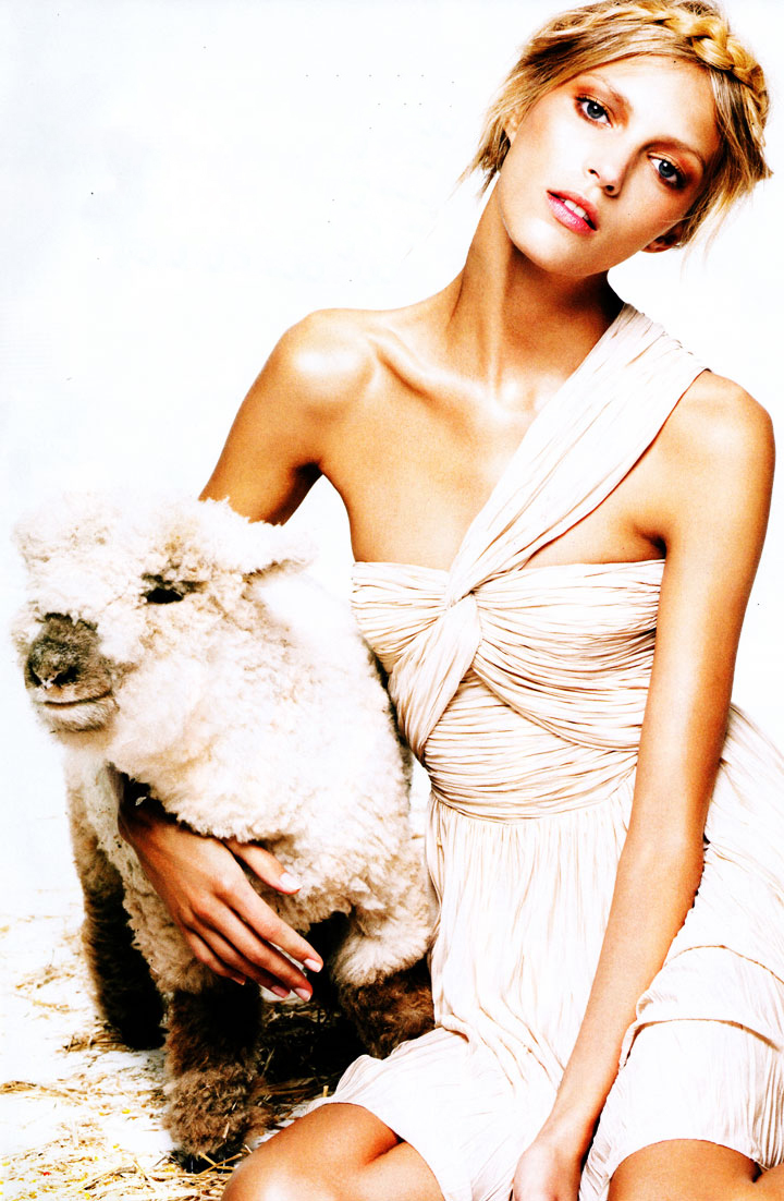 via fashioned by love | Anja Rubik in Harper's Bazaar US January 2010 (photography: Greg Kadel, styling: Katie Mossman) | lambs in fashion editorials